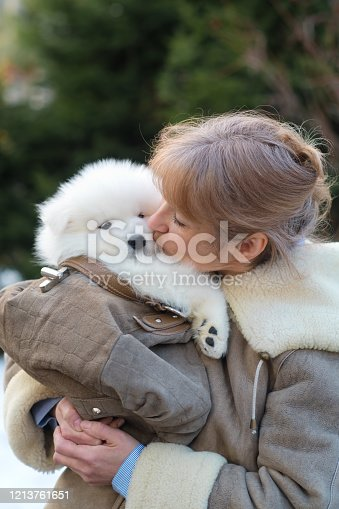 636666902 istock photo Woman with samoyed puppy outdoors 1213761651