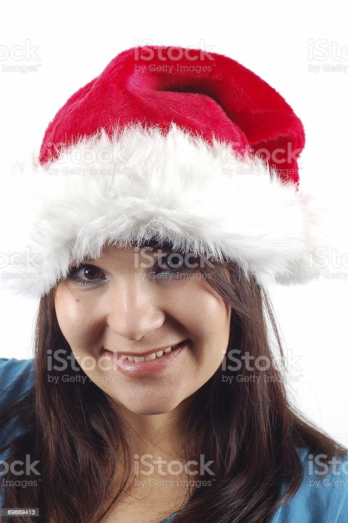 woman with santa claus hat #4 royalty-free stock photo
