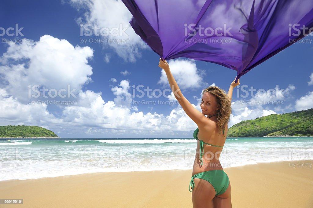 Woman with sarong royalty-free stock photo
