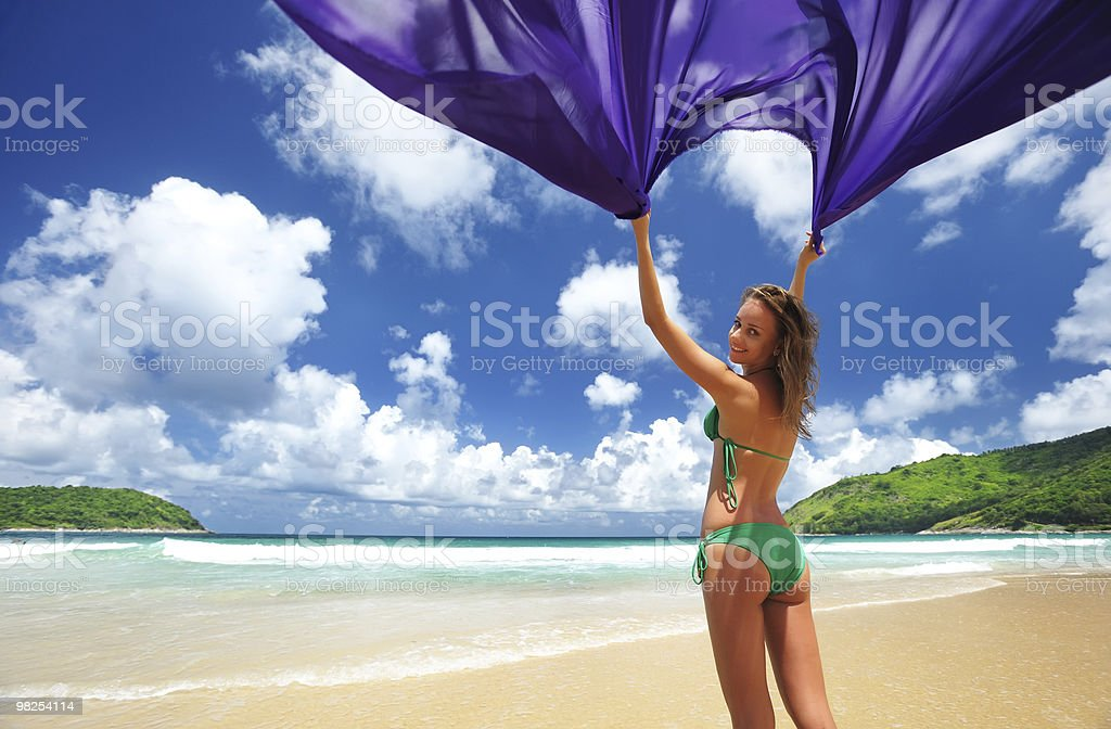 Woman with sarong royalty-free stock photo
