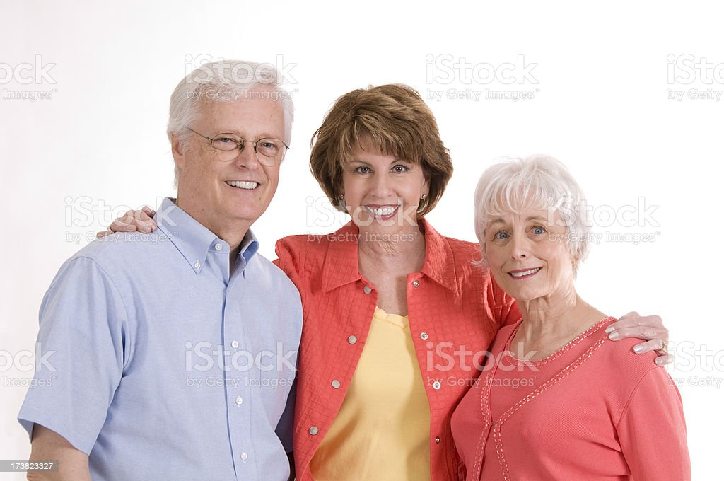 Woman with Senior Parents royalty-free stock photo