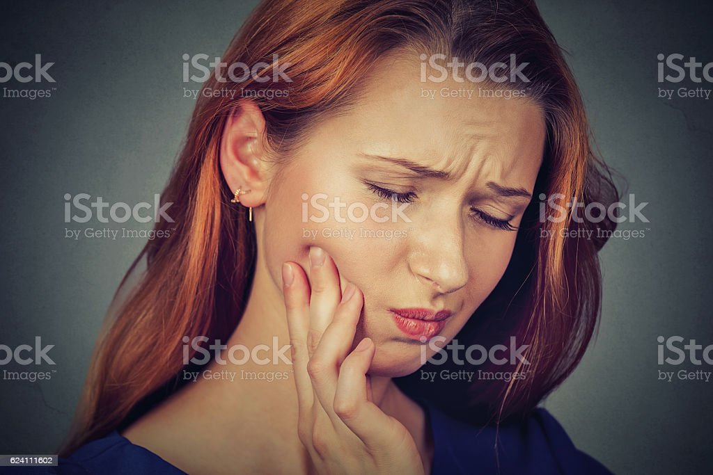 woman with sensitive toothache crown problem pain stock photo