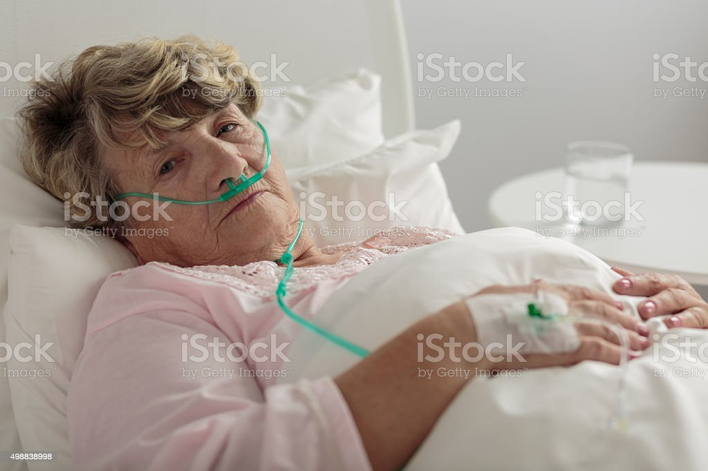 Woman with serious disorder stock photo