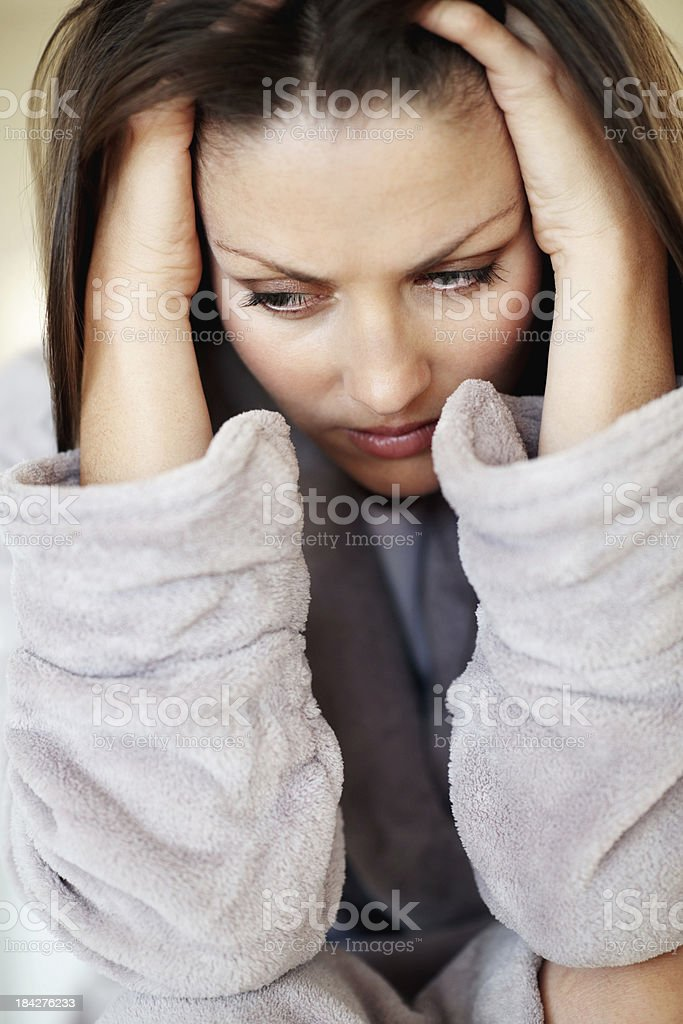 Woman with severe headache royalty-free stock photo