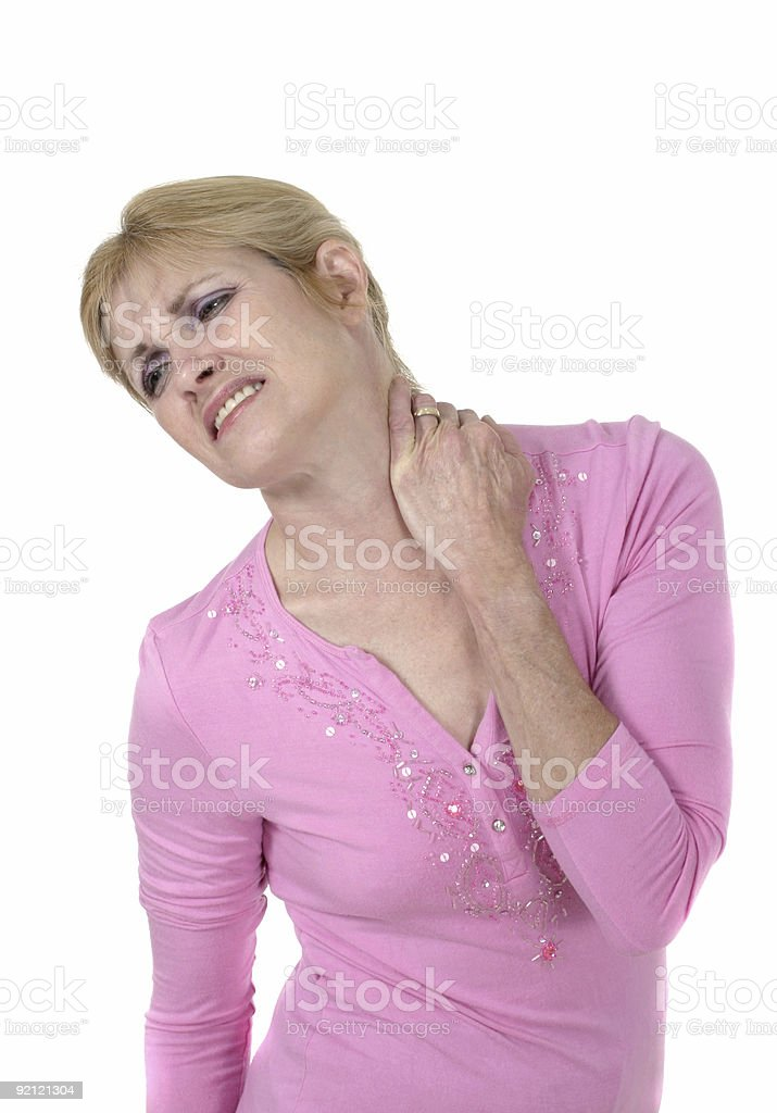 Woman With Severe Neck Pain 4 royalty-free stock photo