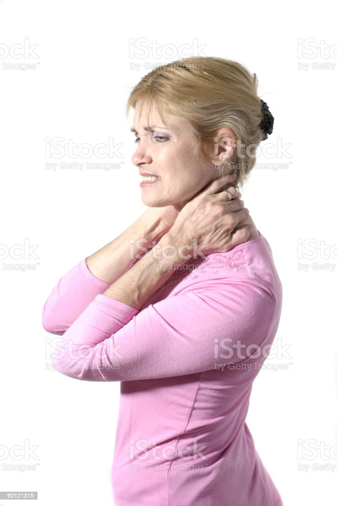 Woman With Severe Neck Pain 8 royalty-free stock photo