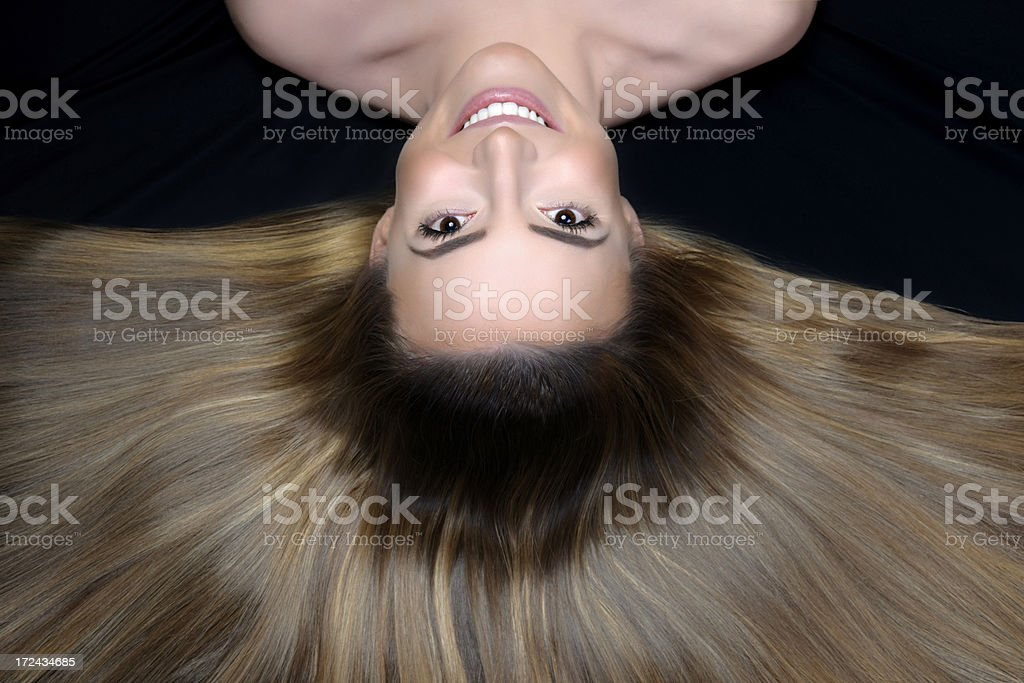 woman with shiny hair royalty-free stock photo