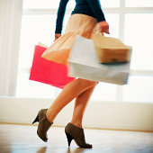 Close-up Of Woman Holding Shopping Bags Wearing High Heels Shoes Walking - Blurred Motion Effect