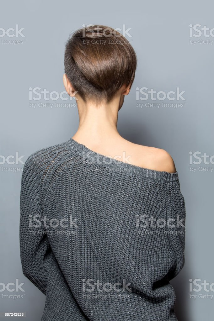 Woman with short hair stock photo