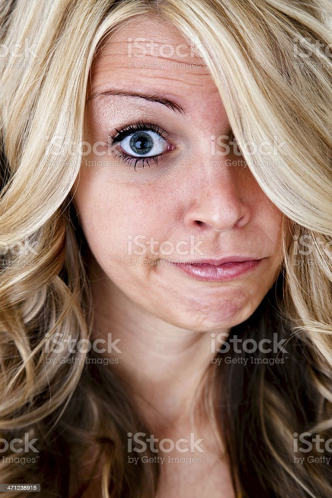 Woman with silly expression royalty-free stock photo