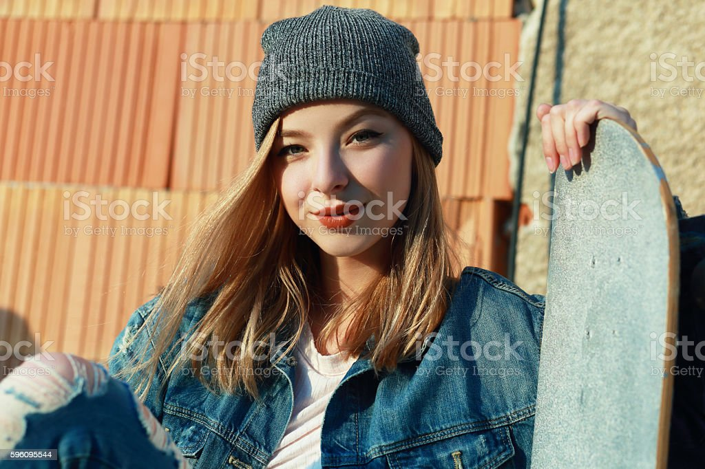 woman with skateboard royalty-free stock photo