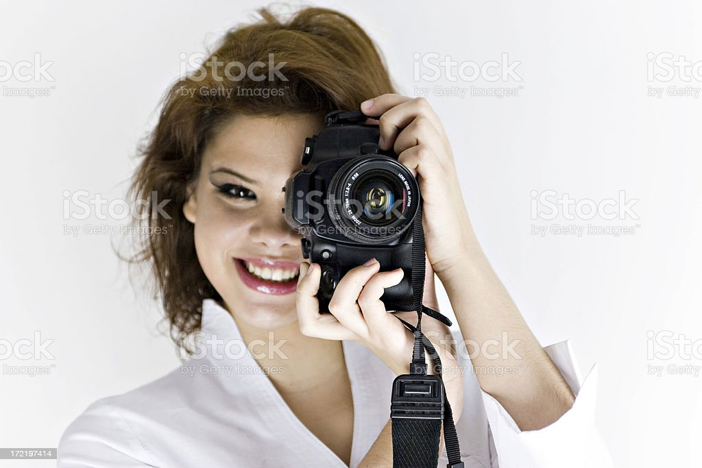 Woman with slr camera royalty-free stock photo