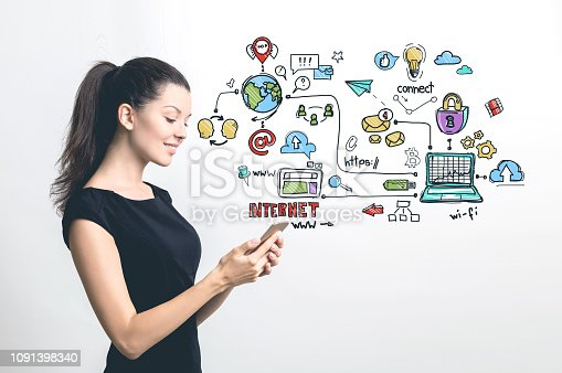 895493084 istock photo Woman with smartphone, colorful internet icons 1091398340