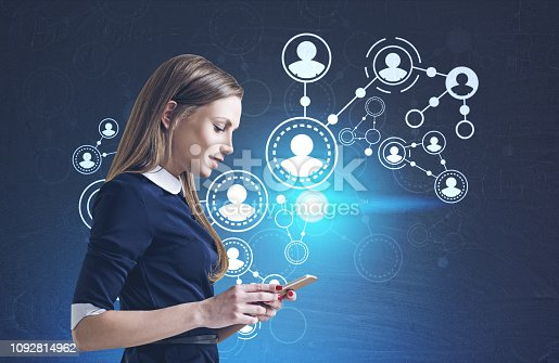 914788012 istock photo Woman with smartphone, people network interface 1092814962