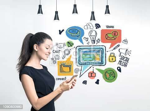 istock Woman with smartphone, social media 1090800980