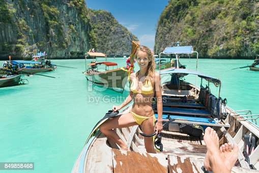 istock Woman with Snorkeling Gear, Phi Phi Islands, Thailand 849858468
