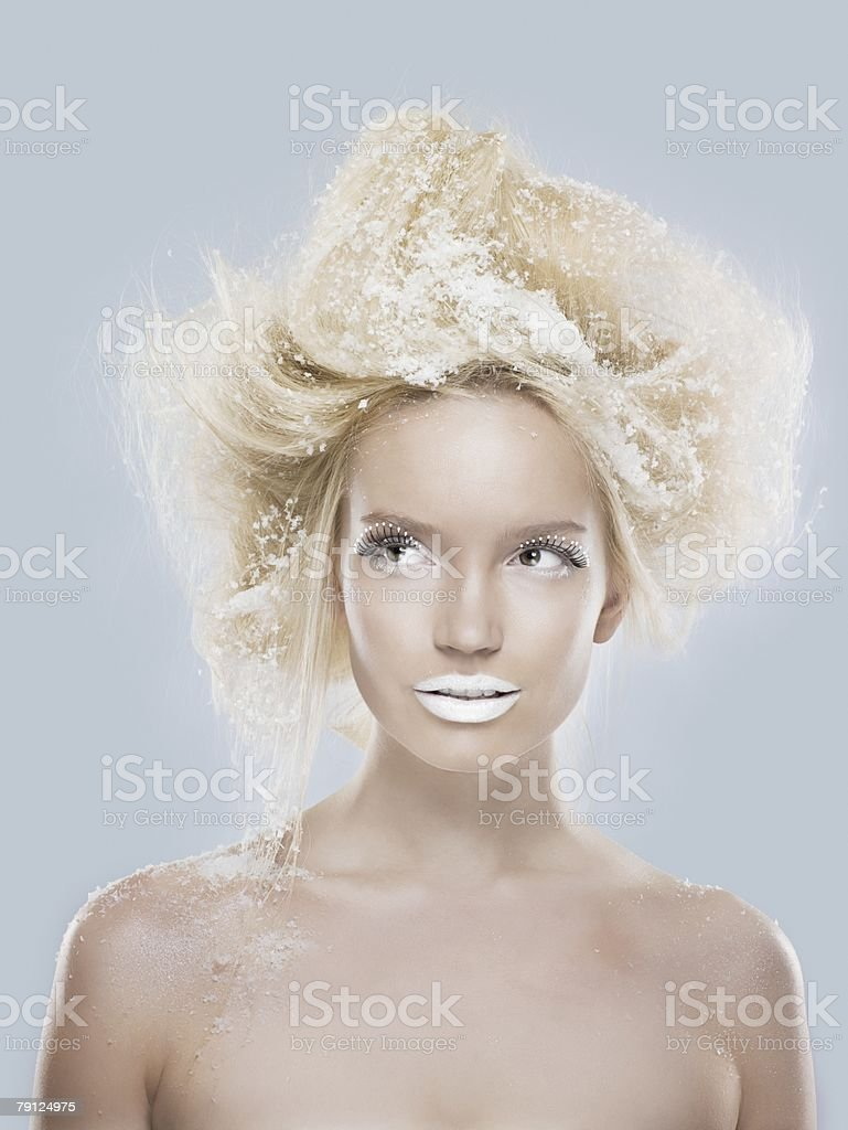 Woman with snow in her hair royalty-free 스톡 사진