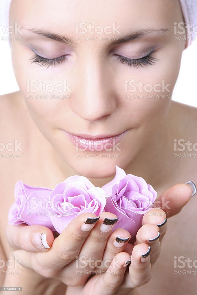 woman with soap-flowers royalty-free stock photo
