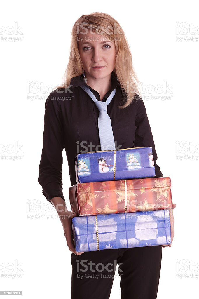 Woman with some gift royalty-free stock photo