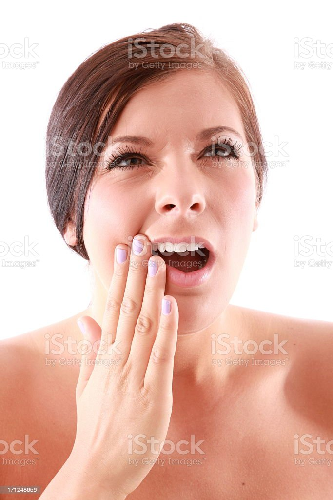 woman with sore mouth stock photo