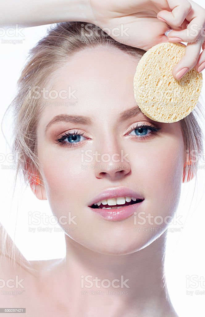 Woman with sponge stock photo