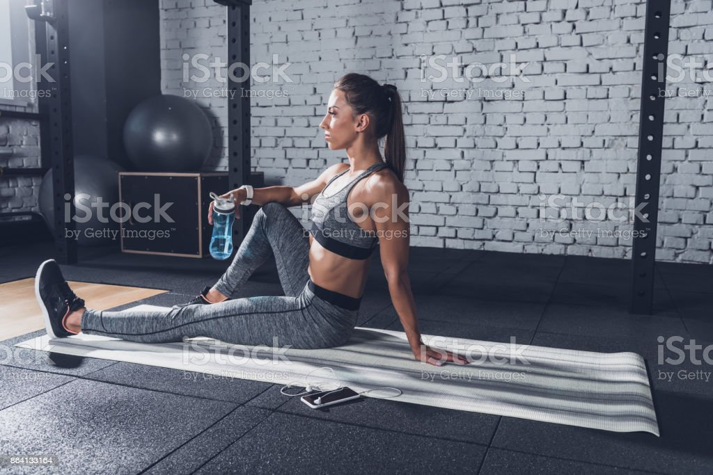 woman with sportive water bottle royalty-free stock photo