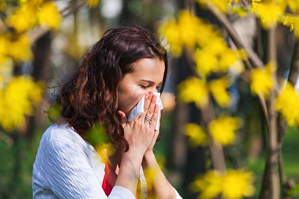 femme avec la grippe printemps - allergies photos et images de collection