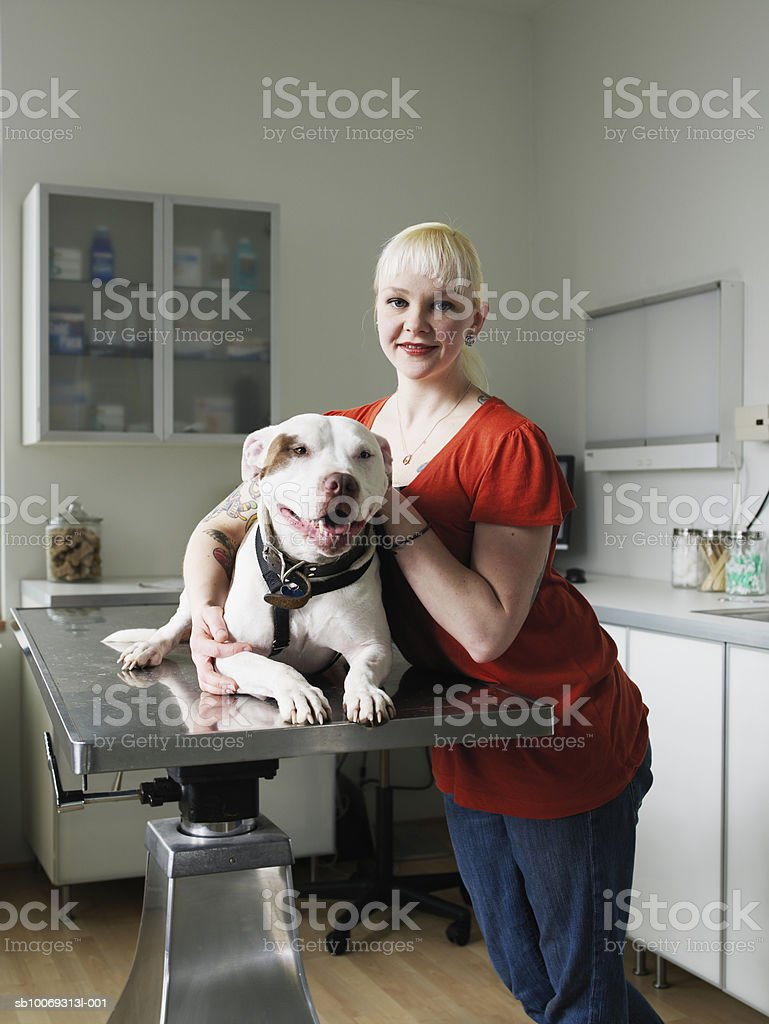 Woman with Staffordshire bull terrier dog in veterinarian exam room royalty-free stock photo