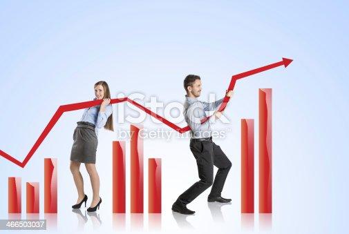 486439381istockphoto Woman with statistics curve 466503037