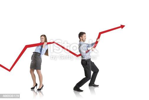 486439381istockphoto Woman with statistics curve 466506129