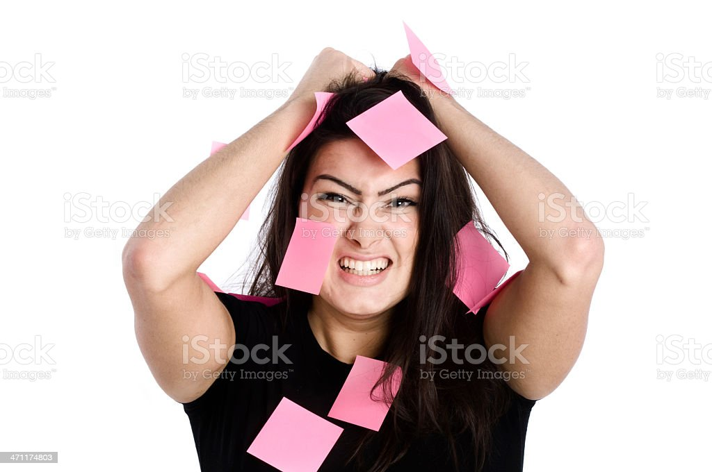 Woman with stickers royalty-free stock photo