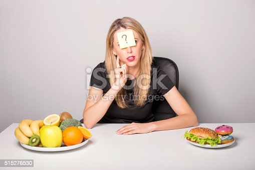 istock Woman with sticky note with  question mark 515276530