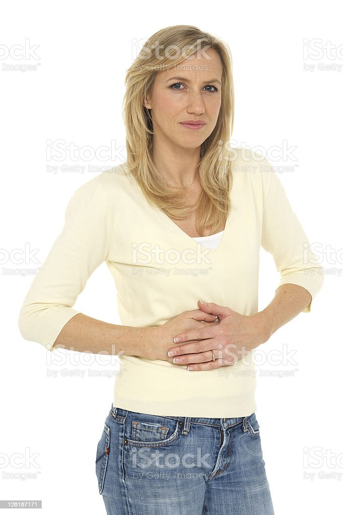 Woman with stomach ache royalty-free stock photo