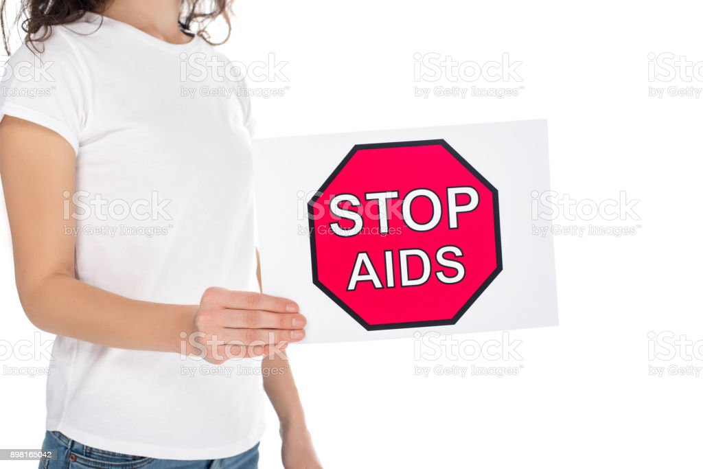 woman with stop aids banner stock photo