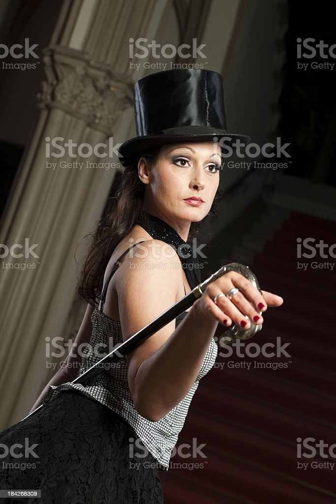 Woman with stovepipe hat stock photo