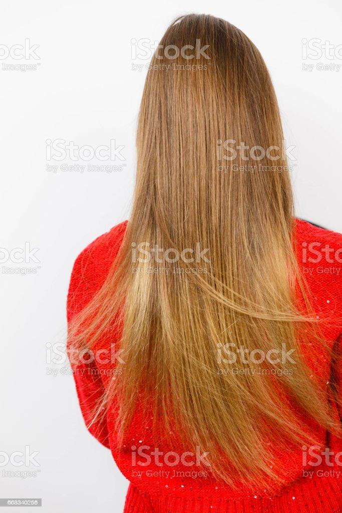 Frau Mit Gerade Braune Lange Haare Ansicht Von Hinten Stock