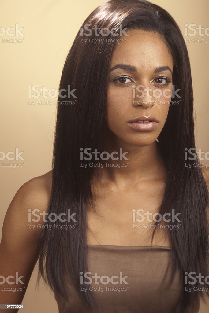 Woman with straight hair, wig stock photo