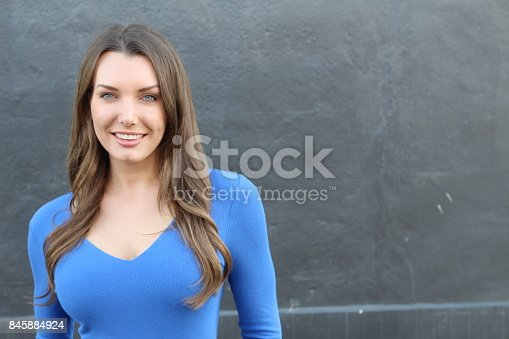 istock Woman with straight white perfect teeth 845884924