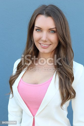 istock Woman with straight white perfect teeth 845903556