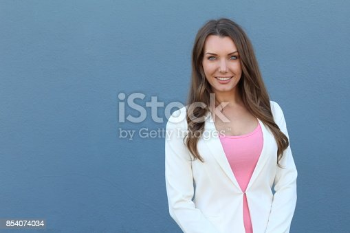 istock Woman with straight white perfect teeth 854074034