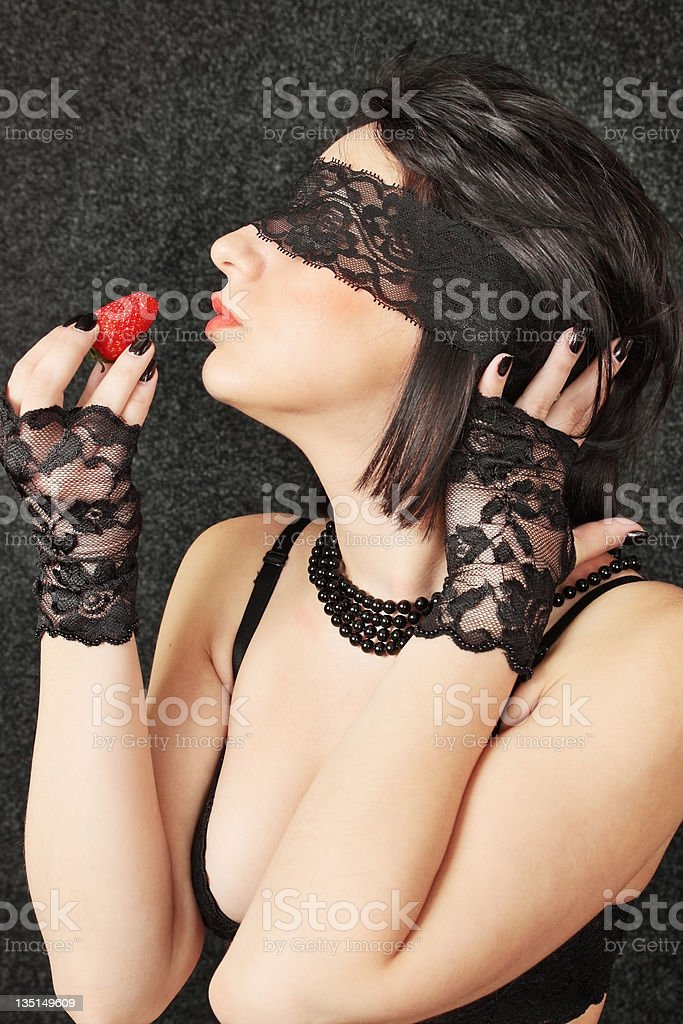 woman with strawberry royalty-free stock photo