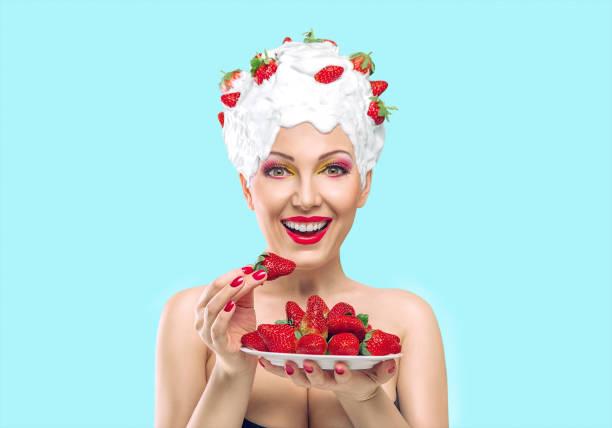 woman with strawberry - make up torte stock-fotos und bilder