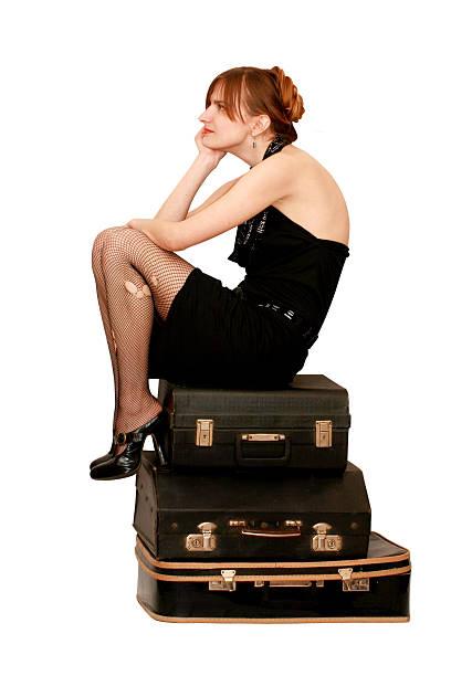 Frau mit Koffer – Foto