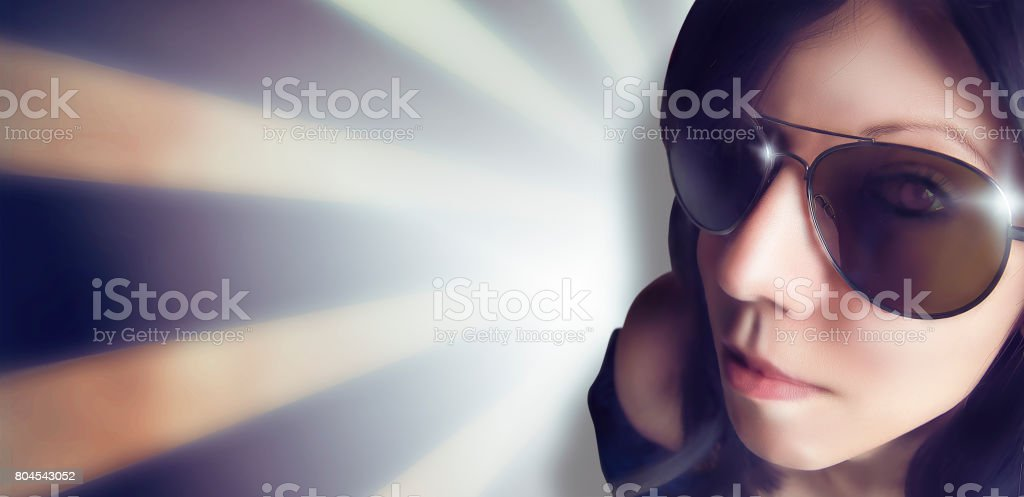 Woman with sunglasses makes a selfie in a disco stock photo