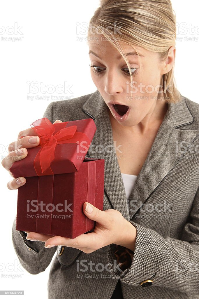 woman with surprise present royalty-free stock photo