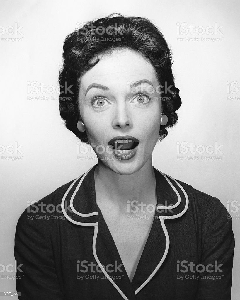 Woman with surprised expression royalty-free stock photo
