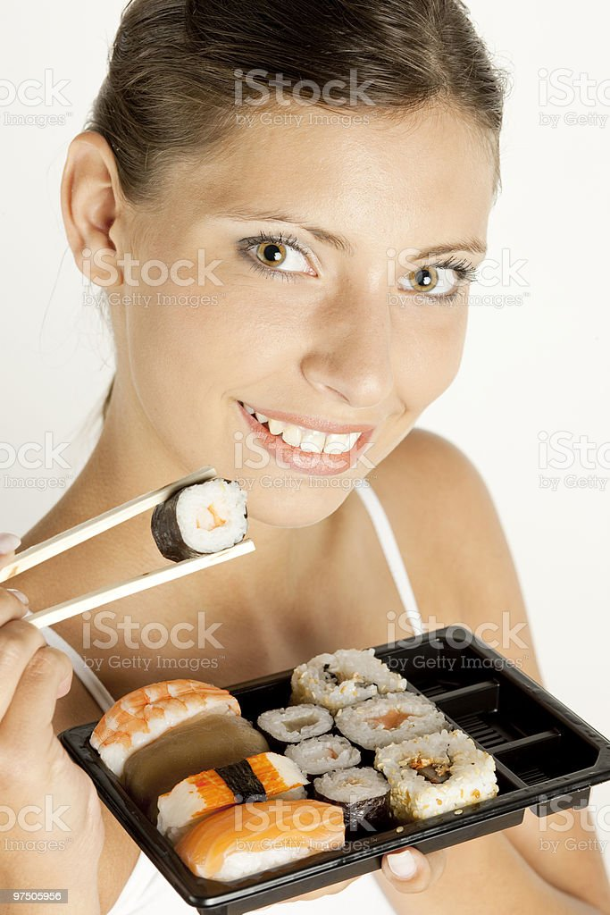 woman with sushi royalty-free stock photo
