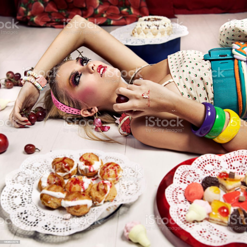 Woman with sweet food stock photo