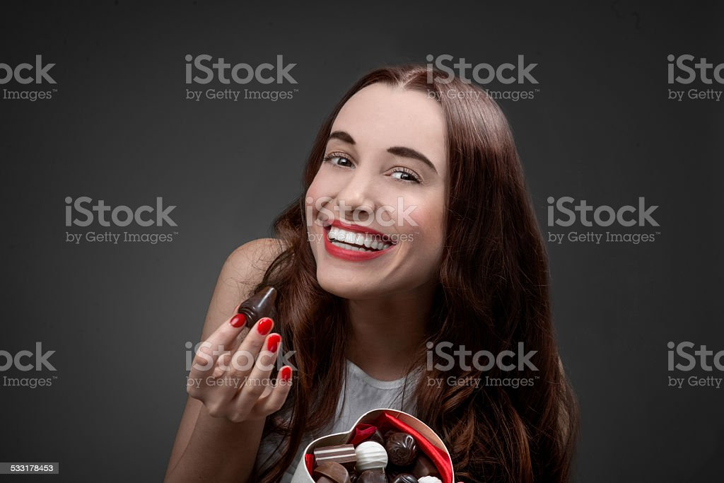 Woman with sweets. Happy Valentine concept stock photo