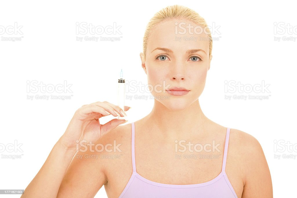 Woman with syringe of Botox royalty-free stock photo